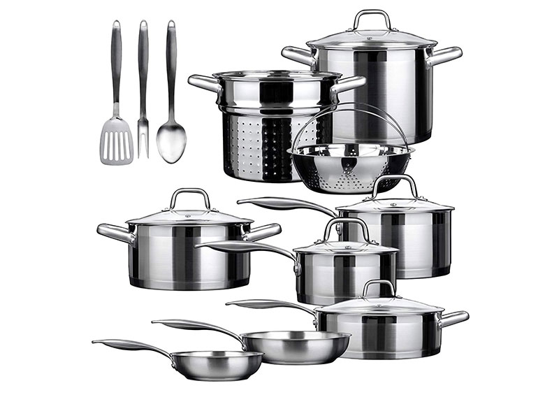 Duxtop 17 Pieces Stainless Steel Induction Cookware Set