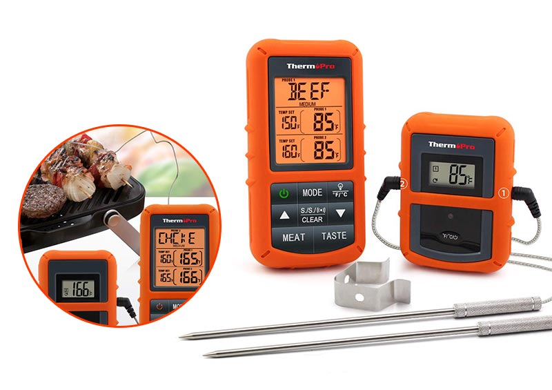 ThermoPro Wireless Digital Food Thermometer for Smoker Grill BBQ